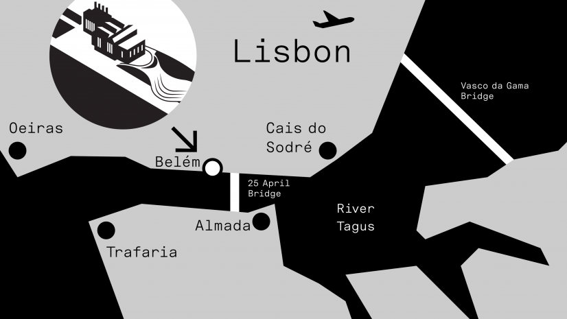 Map showing the location of the maat in Lisbon