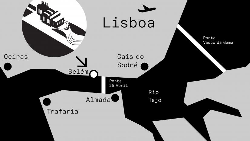 Mapa representativo da localização do maat em Lisboa